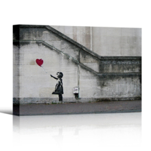 Banksy canvas wall decor print of Girl With Balloon there is always hope shown in 3-d with a drop shadow against a white backdrop.