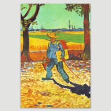 """Painter on his Way to Work by Van Gogh Giclee Canvas Prints Wrapped Gallery Wall Art   Stretched and Framed Ready to Hang - 12"""" x 18"""""""
