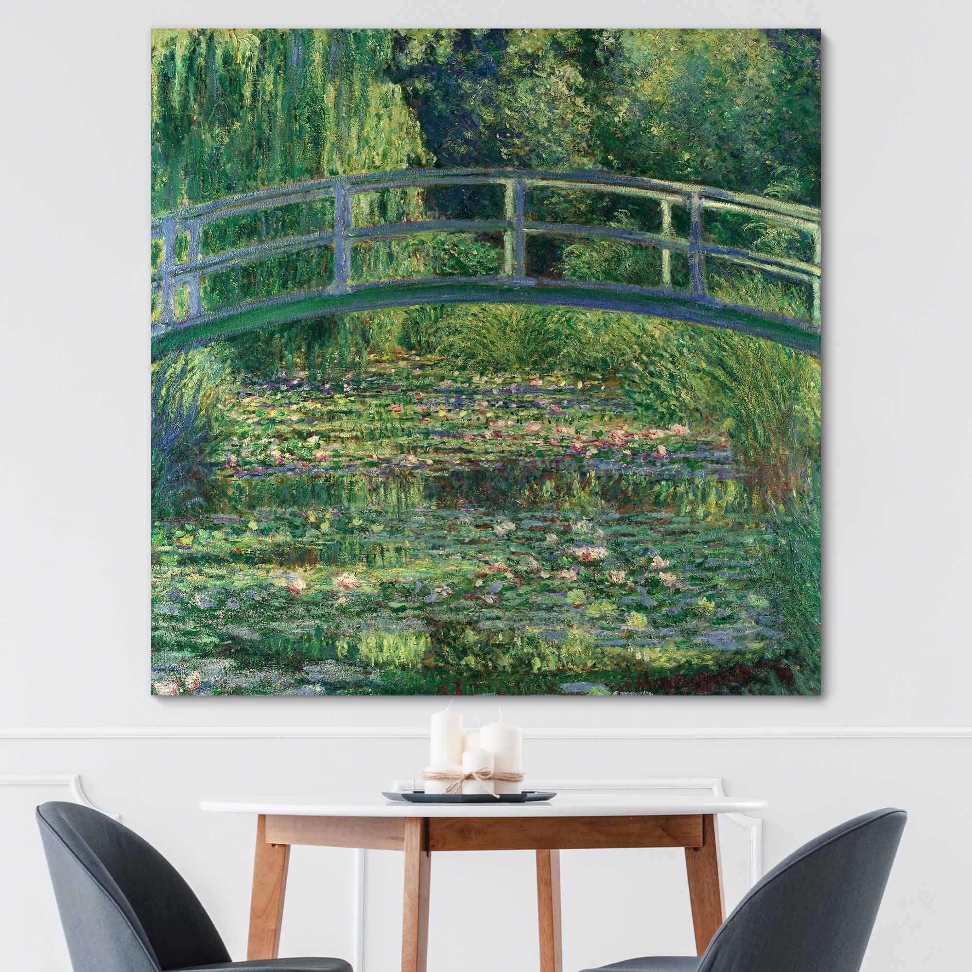 Monet Japanese Bridge (Lily Pond) by Claude Monet - Canvas Print