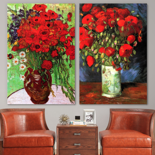 Famous Oil Painting Reproduction/Replica Set of 2 - Vase with Red Poppies & Daisies by Van Gogh Canvas Prints Wall Art/Ready to Hang Wrapped Canvas - 16
