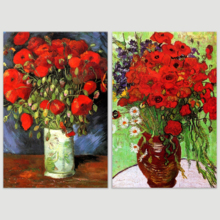 Famous Oil Painting Reproduction Replica Set of 2 Vase with Red Poppies Daisies by Van Gogh x 2 Panels