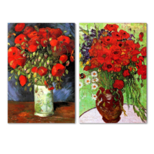"Famous Oil Painting Reproduction/Replica Set of 2 - Vase with Red Poppies & Daisies by Van Gogh Canvas Prints Wall Art/Ready to Hang Wrapped Canvas - 16""x24"" x 2 Panels"