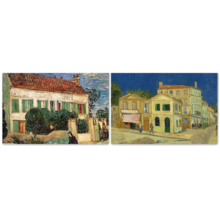"""Famous Oil Painting Reproduction/Replica Set of 2 - White House at Night & The Yellow House by Van Gogh Canvas Prints Wall Art/Ready to Hang Wrapped Canvas - 16""""x24"""" x 2 Panels"""