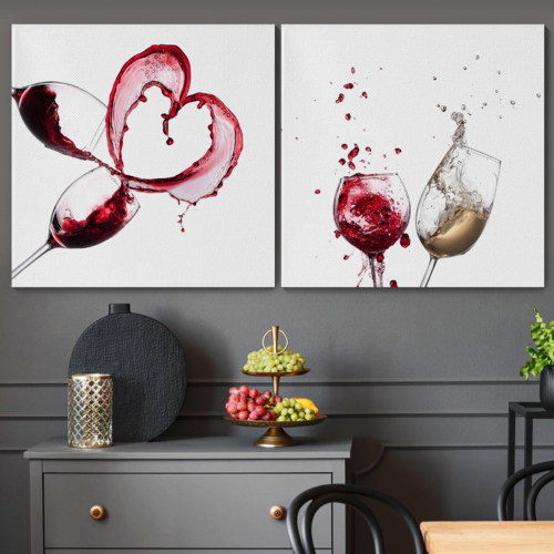 Canvas Prints Wall Art - Artistic Wine Splash Closeup | Modern Home Deoration/Wall Art Giclee Printing Wrapped Canvas Art Ready to Hang - 16