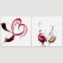 "Canvas Prints Wall Art - Artistic Wine Splash Closeup | Modern Home Deoration/Wall Art Giclee Printing Wrapped Canvas Art Ready to Hang - 16""x16"" x 2 Panels"