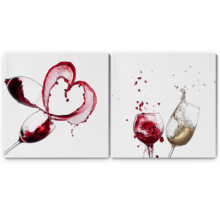 "Canvas Prints Wall Art - Artistic Wine Splash Closeup | Modern Home Deoration/Wall Art Giclee Printing Wrapped Canvas Art Ready to Hang - 24""x24"" x 2 Panels"