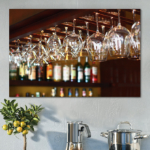 Professional Creation, Unbelievable Print, Empty Glasses for Wine Above a Bar Rack