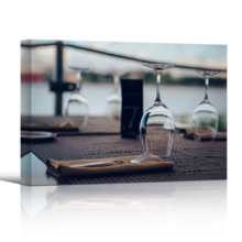 """Canvas Wall Art - Empty Glasses on a Table in a Restaurant 