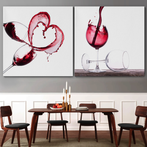 Canvas Wall Art - Red Wine Splashing | Modern Home Art 2 Panel Canvas Prints Giclee Printing & Ready to Hang - 16