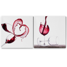 "Canvas Wall Art - Red Wine Splashing | Modern Home Art 2 Panel Canvas Prints Giclee Printing & Ready to Hang - 16""x16"" x 2 Panels"