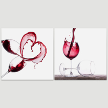 Wonderful Work of Art, Red Wine Splashing 2 Panel x 2 Panels, That's 100% USA Made