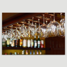 Alluring Piece, Empty Glasses for Wine Above a Bar Rack, Classic Artwork