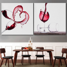 "Canvas Wall Art - Red Wine Splashing | Modern Home Art 2 Panel Canvas Prints Giclee Printing & Ready to Hang - 24""x24"" x 2 Panels"