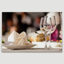 """Canvas Wall Art - Empty Glasses Set in Restaurant 