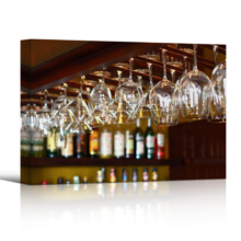 """Canvas Wall Art - Empty Glasses for Wine Above a Bar Rack 