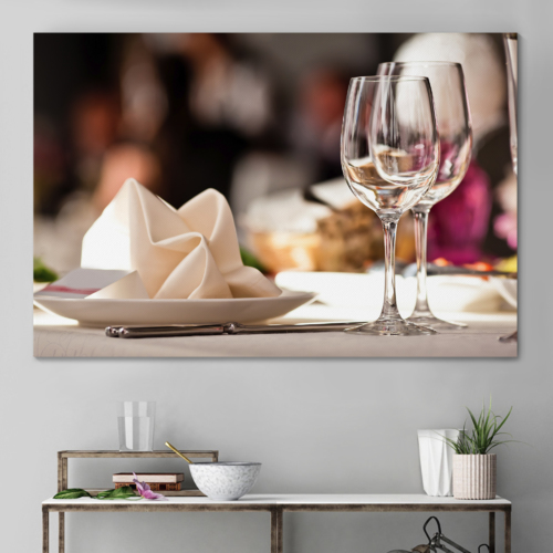 Canvas Wall Art - Empty Glasses Set in Restaurant | Modern Home Art Canvas Prints Gallery Wrap Giclee Printing & Ready to Hang - 32