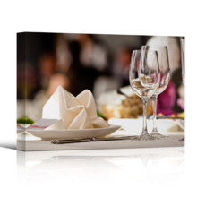 "Canvas Wall Art - Empty Glasses Set in Restaurant | Modern Home Art Canvas Prints Gallery Wrap Giclee Printing & Ready to Hang - 32"" x 48"""