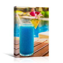 "Canvas Prints Wall Art - Tropical Blue Cocktail on a Beach Near a Swimming Pool | Modern Wall Decor/Home Decoration Stretched Gallery Canvas Wrap Giclee Print & Ready to Hang - 12"" x 18"""