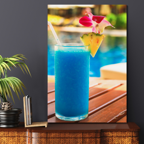 Canvas Prints Wall Art - Tropical Blue Cocktail on a Beach Near a Swimming Pool | Modern Wall Decor/Home Decoration Stretched Gallery Canvas Wrap Giclee Print & Ready to Hang - 24