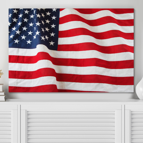 Made to Last, Delightful Style, Closeup of Ruffled American Flag US Flag Wall Decor