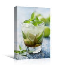 Grand Craft, Fresh Mojito on a Rustic Table Beverage Wine Photograph Wall Decor, Made With Top Quality
