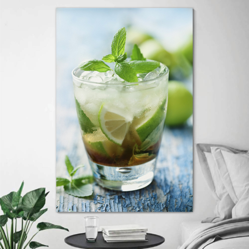 Canvas Prints Wall Art - Fresh Mojito on a Rustic Table Beverage/Wine Photograph | Modern Wall Decor/Home Decoration Stretched Gallery Canvas Wrap Giclee Print & Ready to Hang - 24