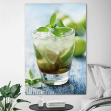 "Canvas Prints Wall Art - Fresh Mojito on a Rustic Table Beverage/Wine Photograph | Modern Wall Decor/Home Decoration Stretched Gallery Canvas Wrap Giclee Print & Ready to Hang - 24"" x 16"""