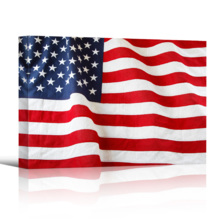 Closeup of Ruffled American Flag US Flag Wall Decor, Created By a Professional Artist, Pretty Expertise