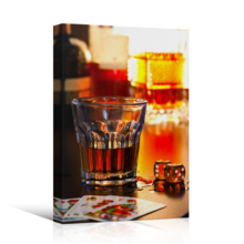 Marvelous Piece, Crafted to Perfection, Still Life Glass of Whiskey with Dice and Playing Cards Wall Decor