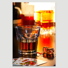 """Canvas Prints Wall Art - Still Life Glass of Whiskey with Dice and Playing Cards 