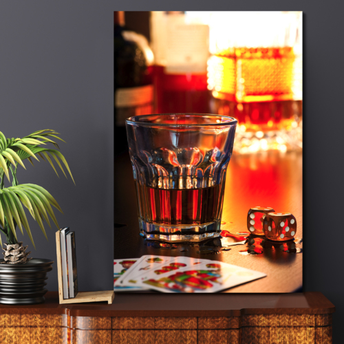 Canvas Prints Wall Art - Still Life Glass of Whiskey with Dice and Playing Cards | Modern Wall Decor/Home Decoration Stretched Gallery Canvas Wrap Giclee Print & Ready to Hang - 36