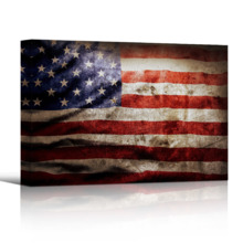 Created By a Professional Artist, Marvelous Handicraft, Closeup of Grunge American Flag Vintage Retro Style Patriotic Concept Wall Decor