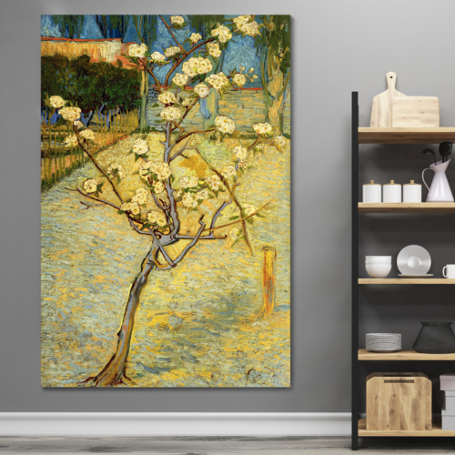 Small Pear Tree in Blossom by Vincent Van Gogh - Canvas Print Wall Art Famous Oil Painting Reproduction - 32