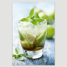 "Canvas Prints Wall Art - Fresh Mojito on a Rustic Table Beverage/Wine Photograph | Modern Wall Decor/Home Decoration Stretched Gallery Canvas Wrap Giclee Print & Ready to Hang - 48"" x 32"""