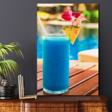 Grand Visual, Tropical Blue Cocktail on a Beach Near a Swimming Pool Wall Decor, Made With Love