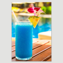 "Canvas Prints Wall Art - Tropical Blue Cocktail on a Beach Near a Swimming Pool | Modern Wall Decor/Home Decoration Stretched Gallery Canvas Wrap Giclee Print & Ready to Hang - 32"" x 48"""