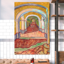 """Corridor in The Asylum by Vincent Van Gogh - Canvas Print Wall Art Famous Painting Reproduction - 24"""" x 36"""""""
