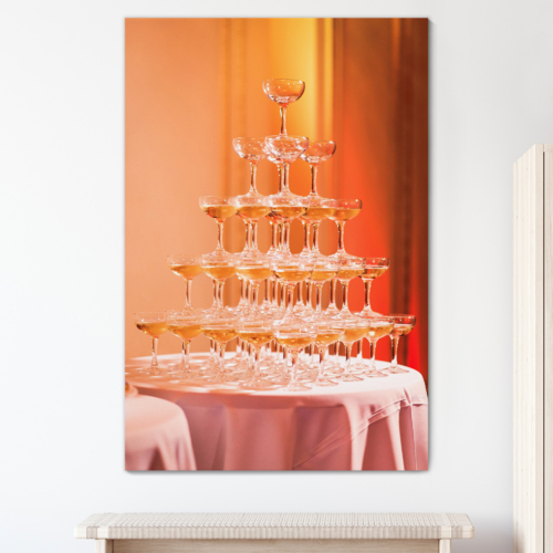 Canvas Prints Wall Art - Beautiful Champagne Pyramid in Restaurant/Party | Modern Wall Decor/Home Art Stretched Gallery Wraps Giclee Print & Wood Framed. Ready to Hang - 18