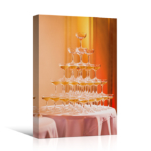 "Canvas Prints Wall Art - Beautiful Champagne Pyramid in Restaurant/Party | Modern Wall Decor/Home Art Stretched Gallery Wraps Giclee Print & Wood Framed. Ready to Hang - 18"" x 12"""