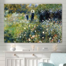 Woman with a Parasol in a Garden - Canvas Print