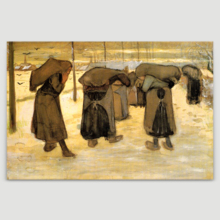 """Miners Wives Carrying Sacks of Coal by Vincent Van Gogh - Canvas Print Wall Art Famous Painting Reproduction - 16"""" x 24"""""""