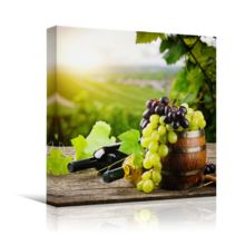 """Canvas Prints Wall Art - Bottles of red and White Wine with Fresh Grape on Vineyard   Modern Home Deoration/Wall Art Giclee Printing Wrapped Canvas Art Ready to Hang - 24"""" x 24"""""""