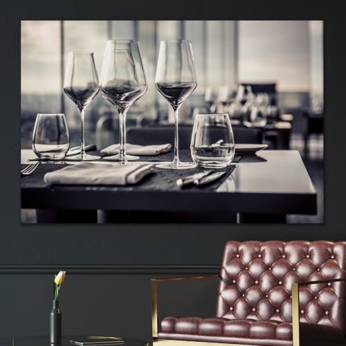 Canvas Prints Wall Art - A Set of Empty Glasses in Restaurant | Modern Wall Decor/Home Art Stretched Gallery Wraps Giclee Print & Wood Framed. Ready to Hang - 24