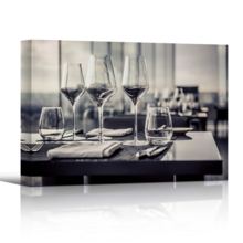 "Canvas Prints Wall Art - A Set of Empty Glasses in Restaurant | Modern Wall Decor/Home Art Stretched Gallery Wraps Giclee Print & Wood Framed. Ready to Hang - 24"" x 36"""