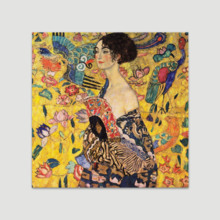 Lady With Fan by Gustav Klimt - Canvas Art