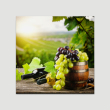 """Canvas Prints Wall Art - Bottles of red and White Wine with Fresh Grape on Vineyard 