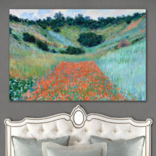 Poppy Field in a Hollow Near Giverny by Claude Monet - Canvas Art