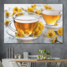 "Canvas Prints Wall Art - Chamomile Tea with Daisies | Modern Wall Decor/Home Decoration Stretched Gallery Canvas Wrap Giclee Print. Ready to Hang - 12"" x 18"""