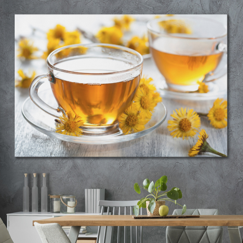 Canvas Prints Wall Art - Chamomile Tea with Daisies | Modern Wall Decor/Home Decoration Stretched Gallery Canvas Wrap Giclee Print. Ready to Hang - 24