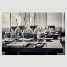 """Canvas Prints Wall Art - A Set of Empty Glasses in Restaurant   Modern Wall Decor/Home Art Stretched Gallery Wraps Giclee Print & Wood Framed. Ready to Hang - 16"""" x 24"""""""